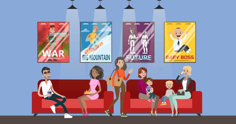 Люди ждать кино бесплатная иллюстрация