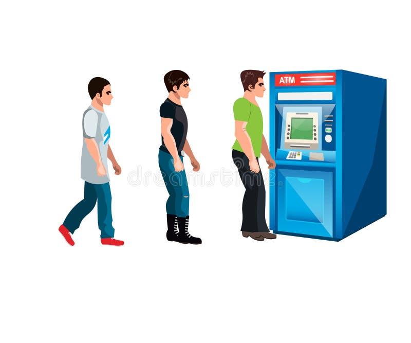 Люди ждать к очереди к ATM иллюстрация вектора