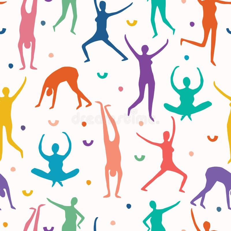 Люди женского тела представляют безшовную картину Йога, позиция спорта танца на всем предпосылка печати Бумага отрезала вне челов бесплатная иллюстрация