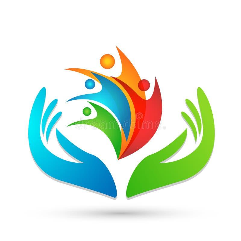 Люди заботят руки принимая людей заботы для сохранения защитить вектор элемента значка логотипа заботы семьи на белой предпосылке бесплатная иллюстрация
