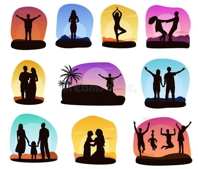 Люди захода солнца vector силуэт семьи или любящих характеров пар видя комплект иллюстрации восхода солнца тропической карточки иллюстрация вектора