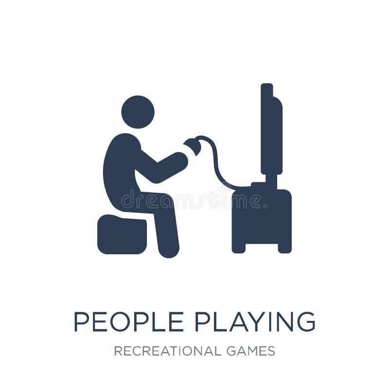 Люди играя значок значка видеоигры Ультрамодные плоские люди p вектора иллюстрация вектора
