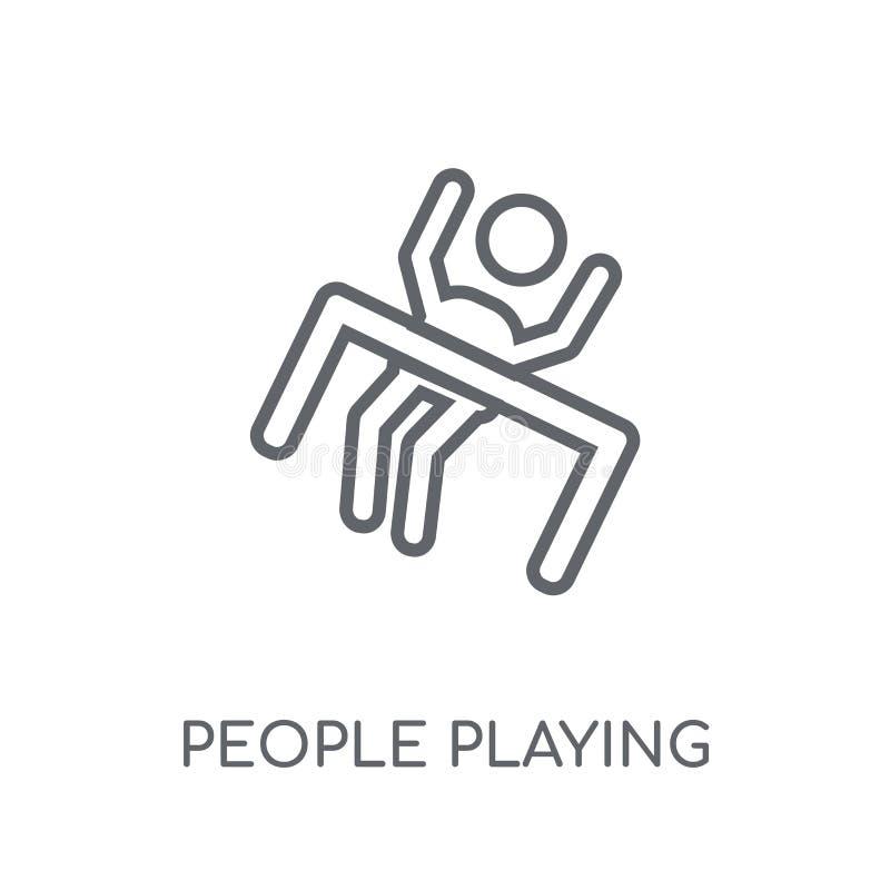 Люди играя значок значка заточения линейный Современный pla людей плана иллюстрация вектора