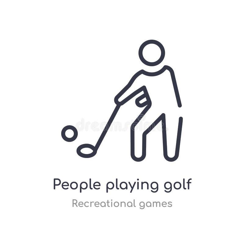 люди играя значок плана гольфа изолированная линия иллюстрация вектора от рекреационного собрания игр editable тонкий ход бесплатная иллюстрация