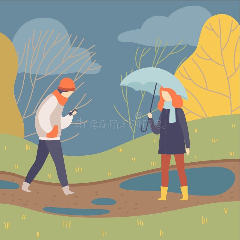 Люди идя в дождь, молодой человека и женщину на иллюстрации вектора предпосылки сезона осени бесплатная иллюстрация