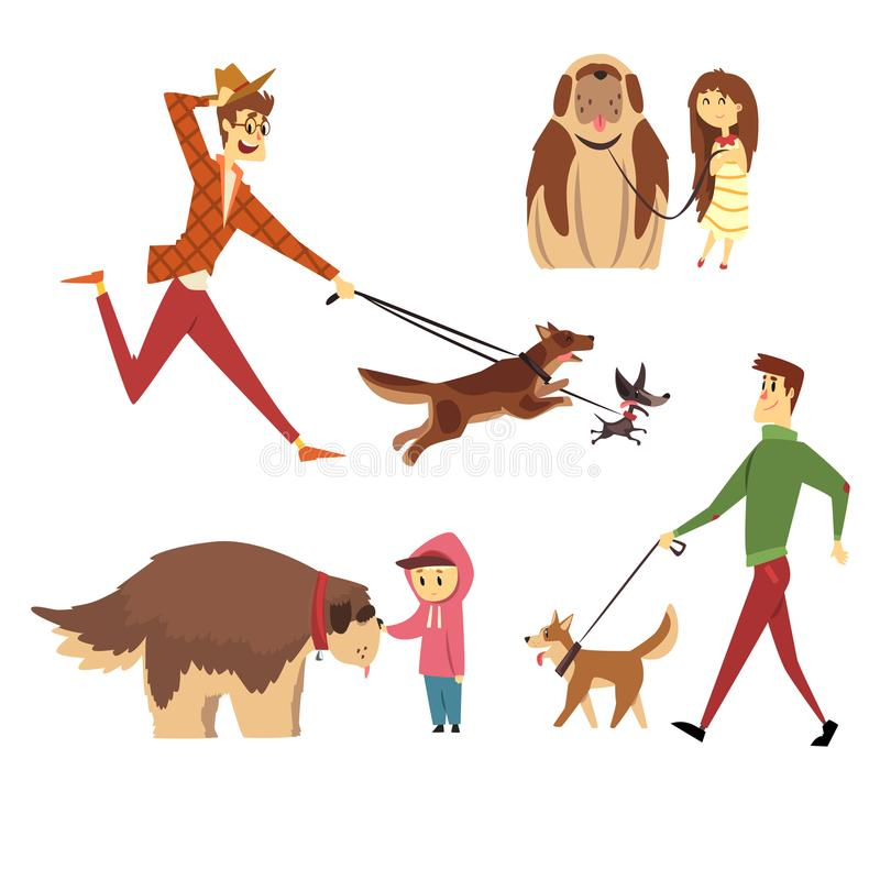 Люди идя и играя с их собаками установили, любимчики Юта с их иллюстрациями вектора шаржа предпринимателей бесплатная иллюстрация
