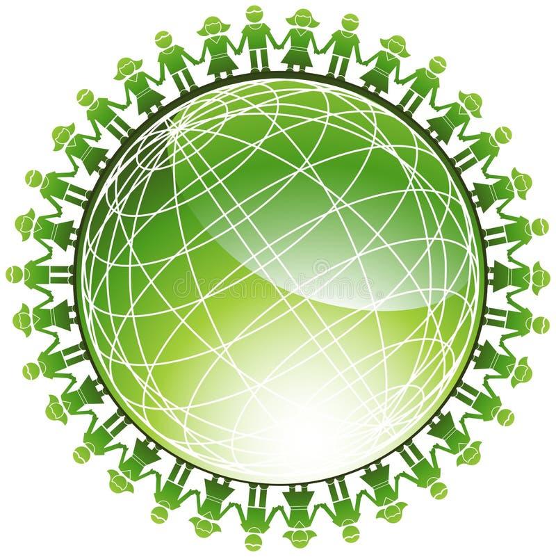 люди иконы глобуса зеленые иллюстрация вектора