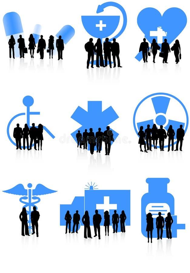люди икон медицинские иллюстрация вектора
