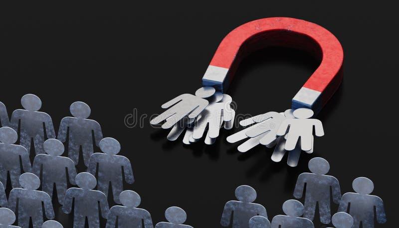 Люди или клиенты привлечены магнитом составьте схему экрану маркетинга руки чертежа принципиальной схемы женскому прозрачному пре иллюстрация штока