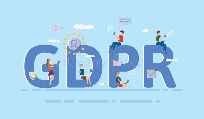 Люди используя передвижные устройства и интернет-устройства среди больших писем GDPR Общая регулировка защиты данных Концепция иллюстрация штока