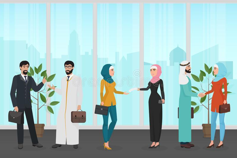 Люди и женщины в традиционных мусульманских одеждах говоря друг с другом пока работающ в векторе офиса совместно иллюстрация штока