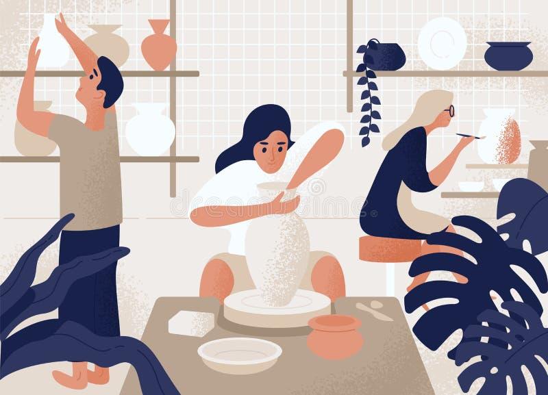 Люди и женщины делая и украшая баки, керамику, посуду и другую керамику на мастерской гончарни соберите людей иллюстрация вектора