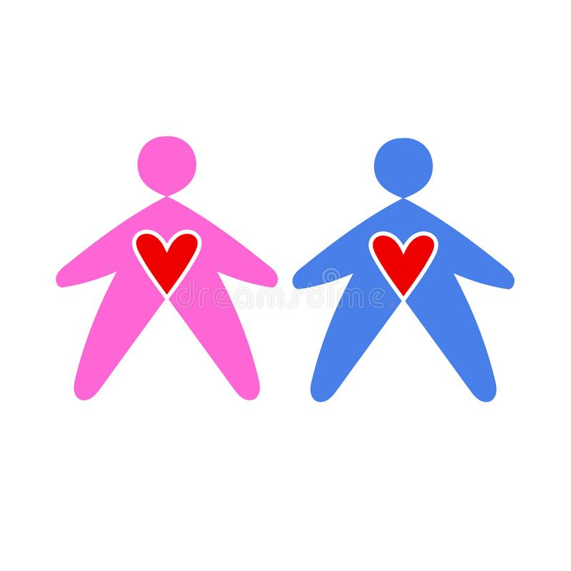 Люди и женщины значков в голубом и розовом Значок человека и женщины Общественный знак уборной r иллюстрация штока