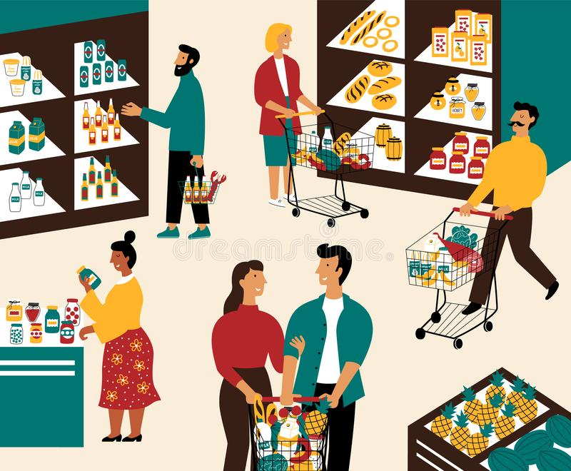 Люди и женщины покупая продукты на гастрономе Люди с корзинами на супермаркете Клиенты в розничном магазине иллюстрация штока