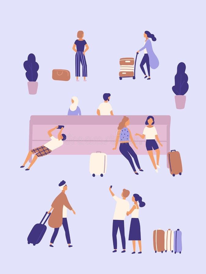 Люди и женщины при чемоданы ждать на авиапорте или автобусной станции Группа людей или пассажиры при багаж сидя дальше бесплатная иллюстрация