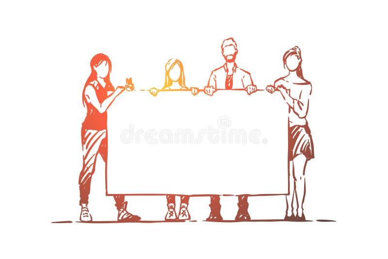 Люди и женщины проводя пустой плакат, день рождения сюрприза, поздравления, молодые друзей, социологизм иллюстрация вектора