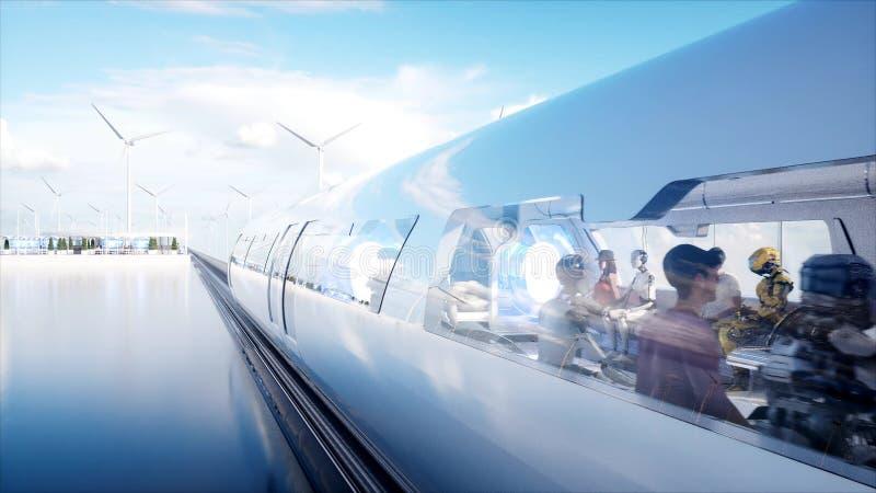 Люди и роботы Станция Sci fi Футуристический переход монорельса Концепция будущего перевод 3d бесплатная иллюстрация