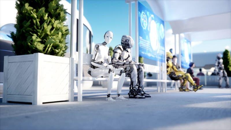Люди и роботы Станция Sci fi Футуристический переход монорельса Концепция будущего перевод 3d иллюстрация вектора