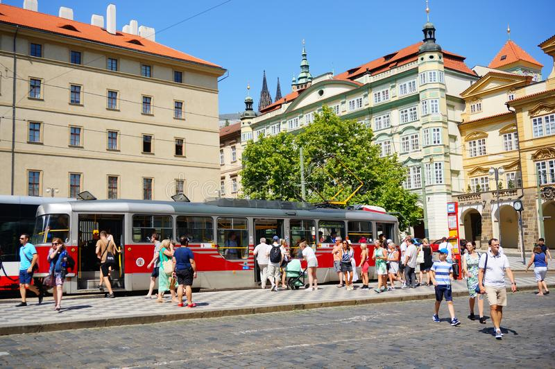 Люди и трамваи стоковое фото rf