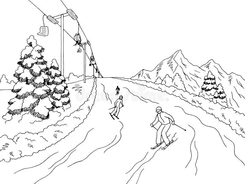 Люди катаясь на лыжах на векторе иллюстрации эскиза ландшафта гор графическом черном белом иллюстрация штока