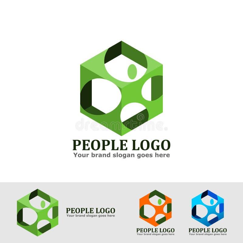 Люди кладут логотип в коробку иллюстрация вектора