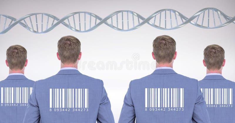 Люди клона с генетическими дна и штрихкодом стоковое фото rf