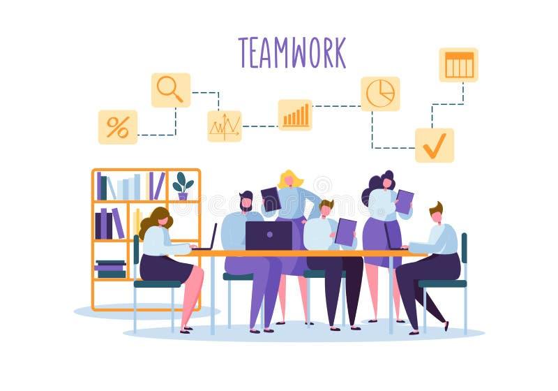 Люди команды корпоративного бизнеса за столом Плоские работники офиса характеров Принципиальная схема сыгранности Космос Coworkin иллюстрация штока