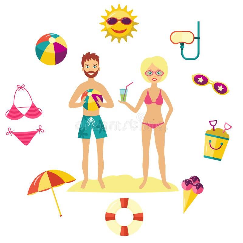 Люди летнего отпуска вектора плоские и комплект символов бесплатная иллюстрация