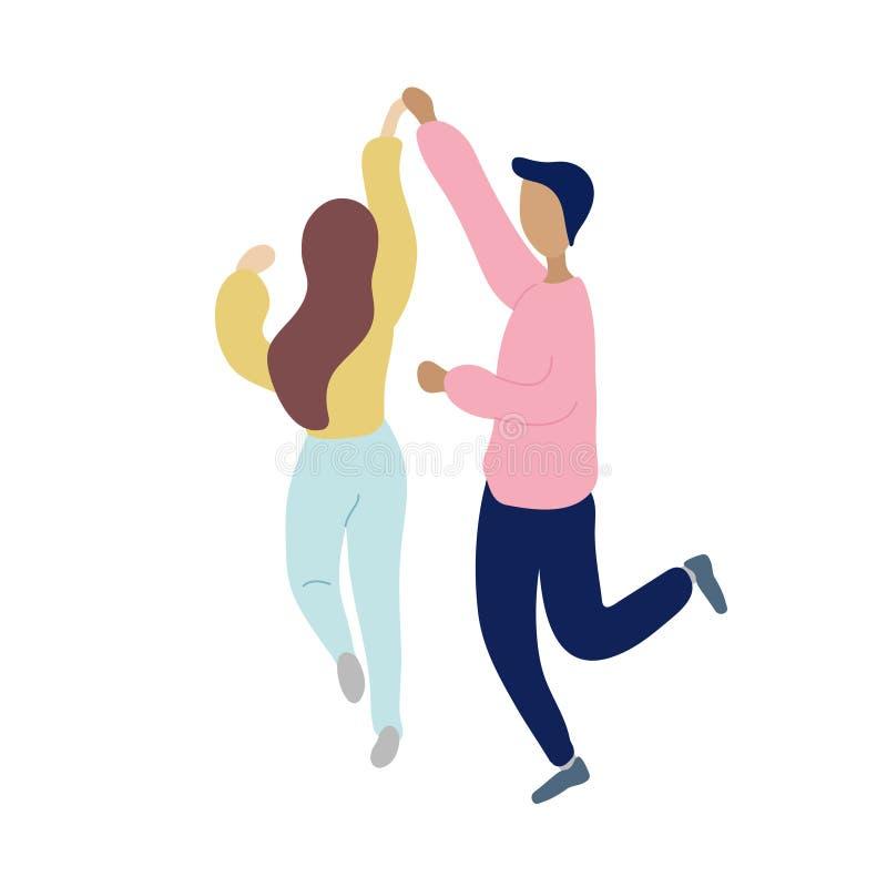 Люди молодых танцев крошечные стильные иллюстрация штока