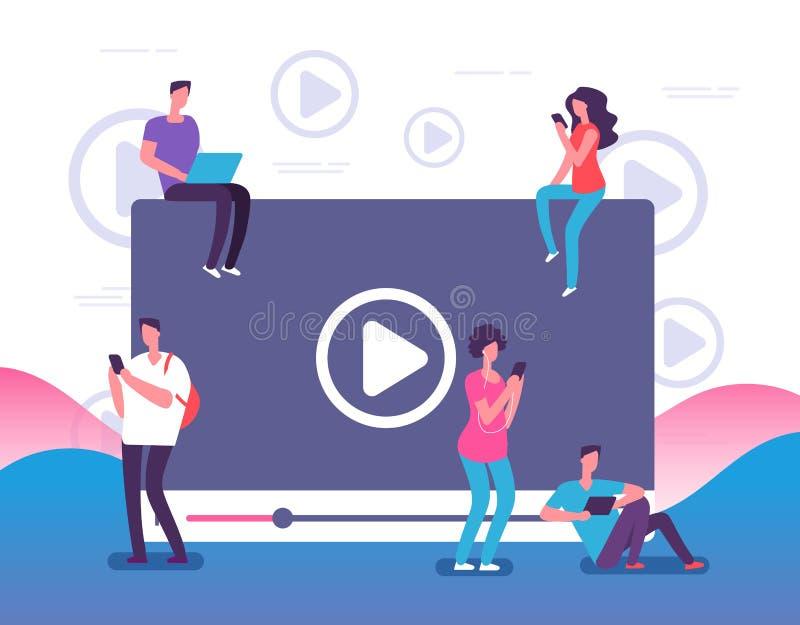 Люди наблюдая онлайн видео Телевидение интернета цифров, игрок видео сети или социальные средства массовой информации живут конце иллюстрация вектора