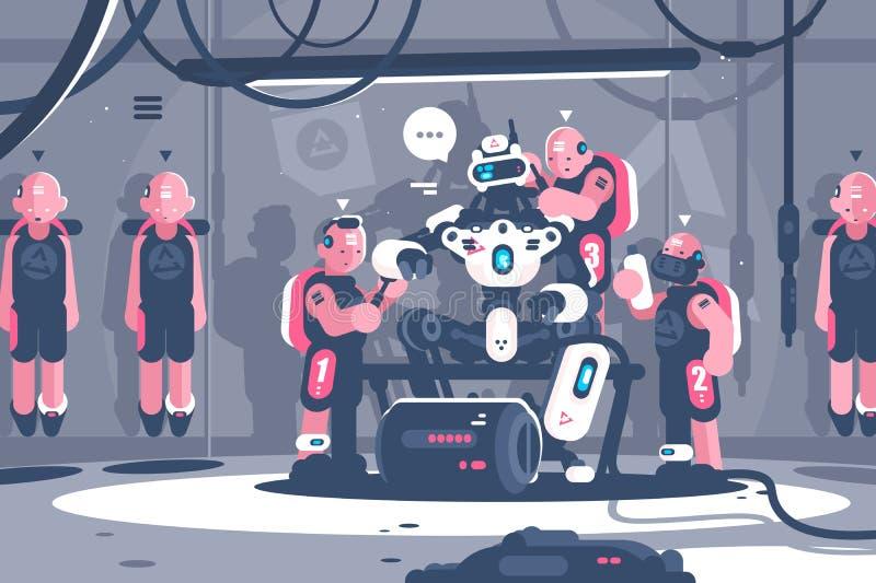 Люди надрываясь робототехнический босс бесплатная иллюстрация