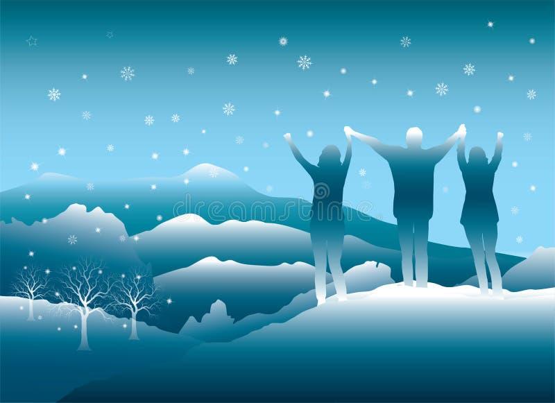 Люди наслаждаясь отключением зимы в горах Колорадо иллюстрация штока