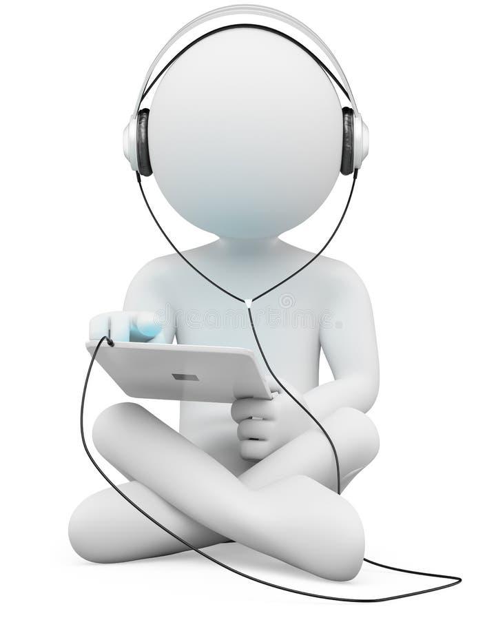 люди наушников 3d tablet белизна иллюстрация вектора
