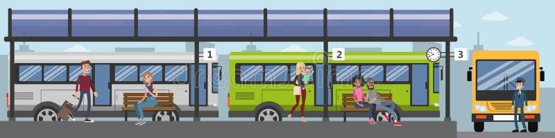 Люди на автобусной станции иллюстрация вектора