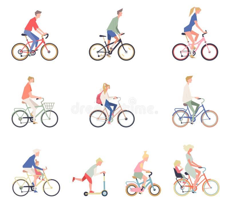 Люди на велосипеде Установите людей, женщин и детей мультфильма на велосипедах иллюстрация вектора