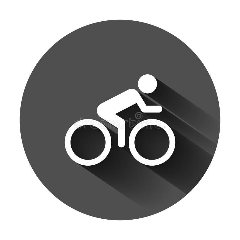 Люди на значке знака велосипеда в плоском стиле Иллюстрация вектора велосипеда на черной круглой предпосылке с длинной тенью Заде иллюстрация вектора