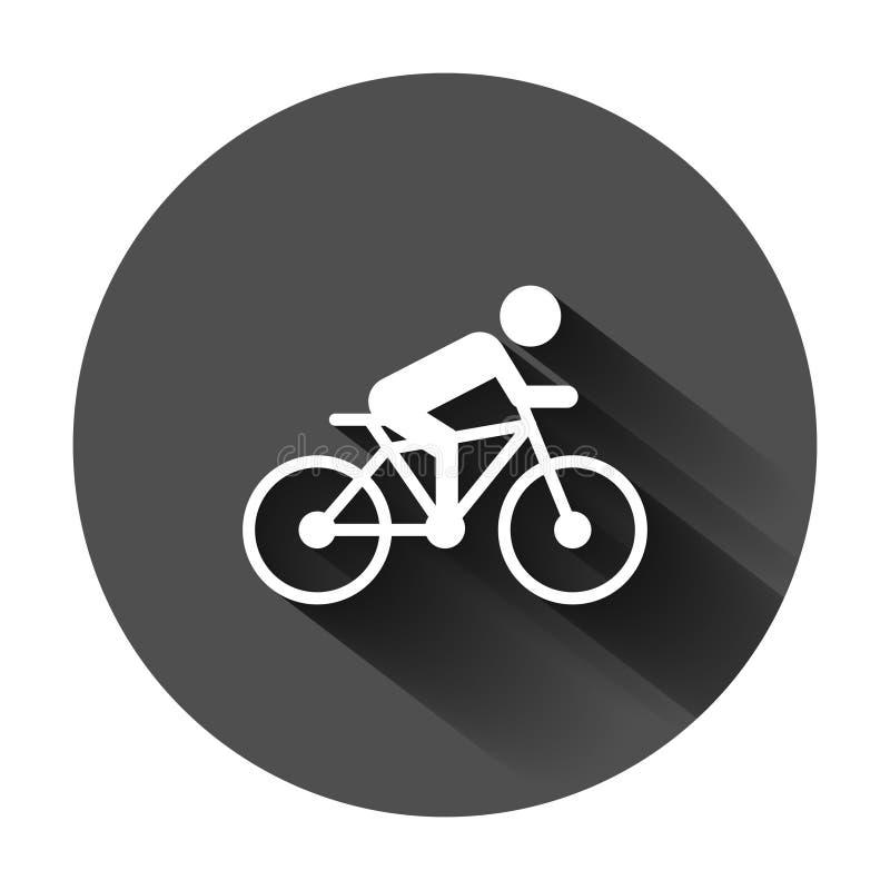 Люди на значке знака велосипеда в плоском стиле Иллюстрация вектора велосипеда на черной круглой предпосылке с длинной тенью Заде иллюстрация штока