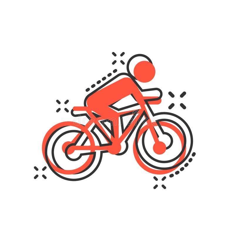Люди на значке знака велосипеда в шуточном стиле Иллюстрация мультфильма вектора велосипеда на белой изолированной предпосылке Лю иллюстрация вектора