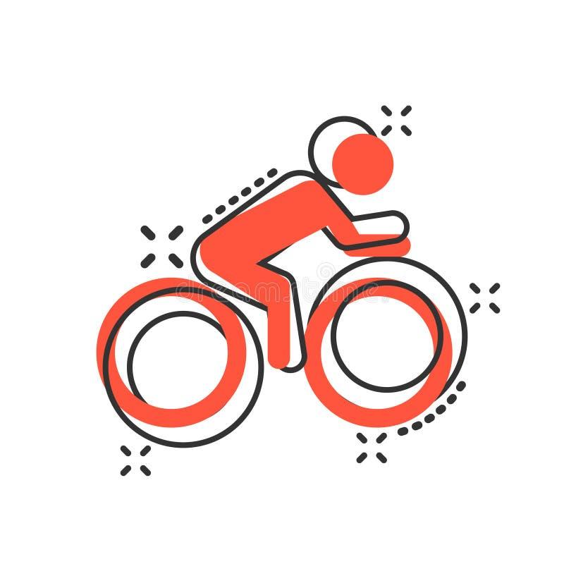Люди на значке знака велосипеда в шуточном стиле Иллюстрация мультфильма вектора велосипеда на белой изолированной предпосылке Лю бесплатная иллюстрация