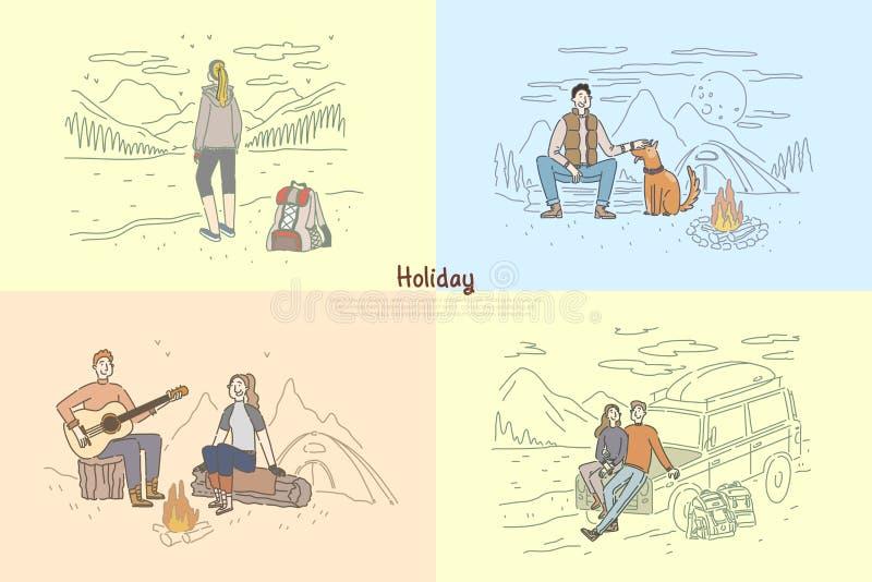Люди на каникулах праздника, паре располагаясь лагерем, поездка друзей, укладывающ рюкзак, сиротливый шаблон знамени путешественн иллюстрация вектора