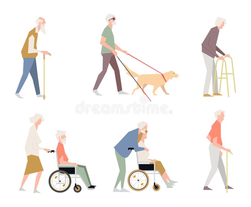 Люди неработающие на улице Пенсионеры на кресло-коляске Человек с ограниченными способностями иллюстрация штока