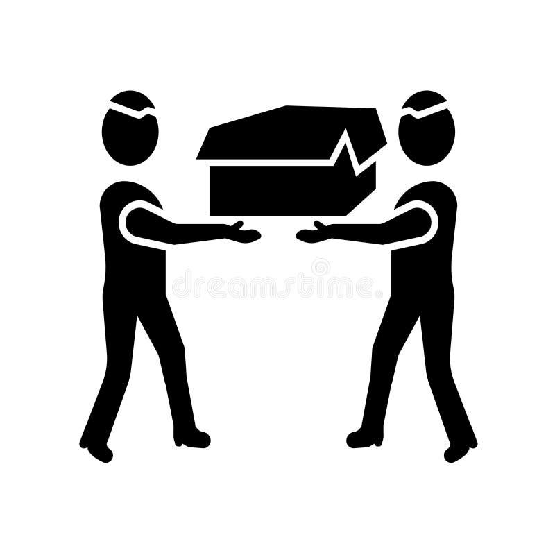 Люди нося вектор значка коробки изолированный на белой предпосылке, людях нося знак коробки бесплатная иллюстрация