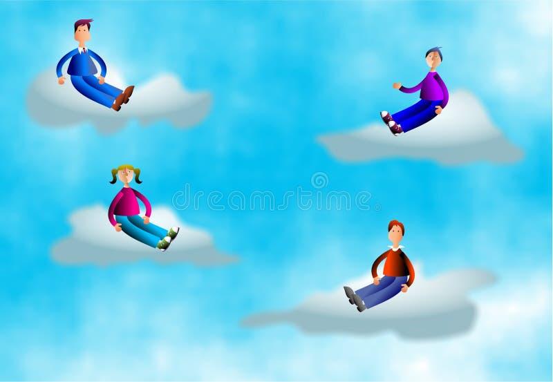 люди облака бесплатная иллюстрация