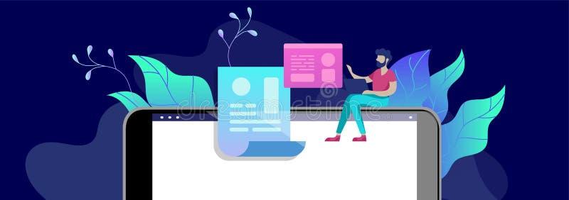 Люди образования концепции, интернет изучая, онлайн обучение, онлайн книга бесплатная иллюстрация