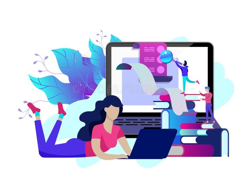 Люди образования концепции, интернет изучая, онлайн обучение, онлайн книга иллюстрация штока