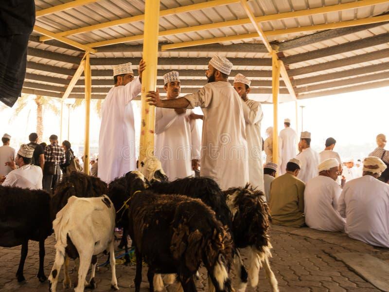 Люди обсуждают цену для продажи животных на рынке пятницы животном в Nizwa стоковое фото rf