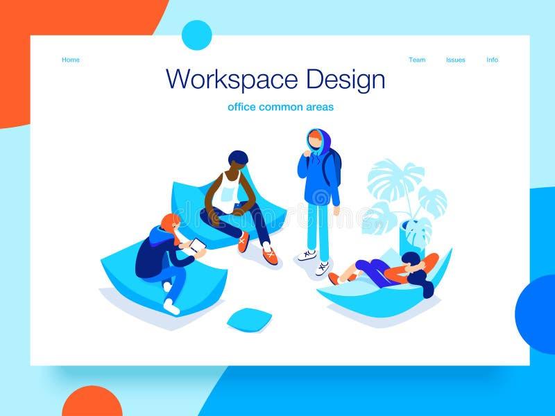 Люди отдыхая и связывая в общей площади Раскройте место для работы и coworking Концепция страницы посадки 3D равновеликое бесплатная иллюстрация