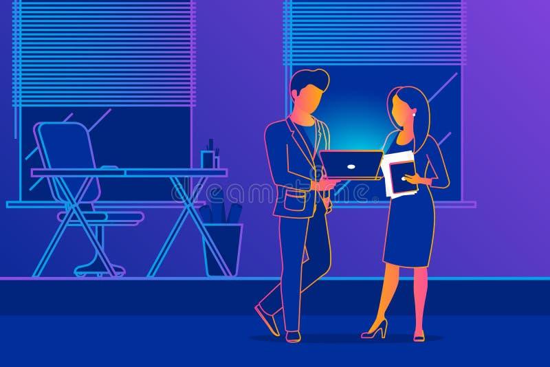 Люди офиса обсуждают проект иллюстрация вектора