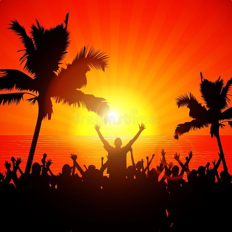 Люди партии на пляже в лете иллюстрация вектора