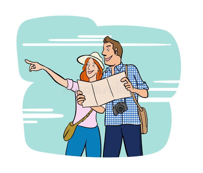 Люди пар путешествуя на каникулах Плоский дизайн персонажа из мультфильма вектора иллюстрация штока